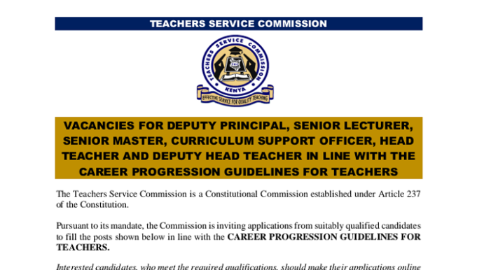 Confirmed: 15,200 Teachers To Be Promoted By TSC in January in Latest Promotion Adverts- See Requirements