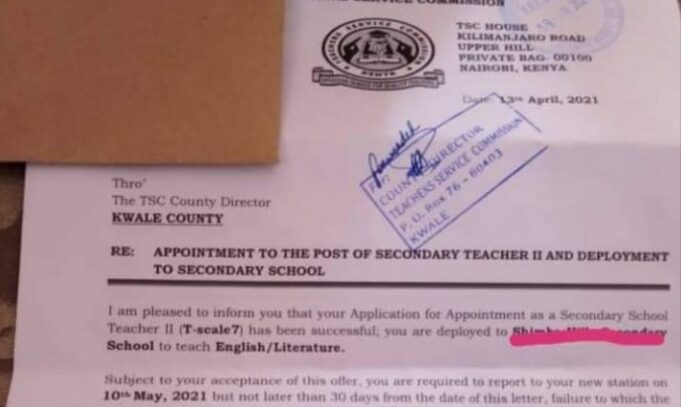 TSC Sets out To Begin Deploying P1 teachers to Secondary Schools; How To Get Your Letter