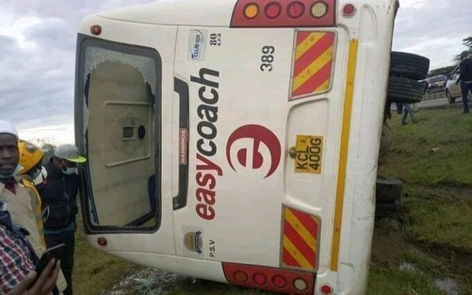 An Easy Coach Bus Transporting KNEC Examiners involved in an accident at Gilgil Weigh Bridge