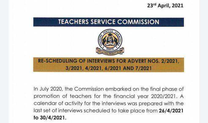 TSC reschedules Planned teacher Interviews After KUPPET's Strong Evidence