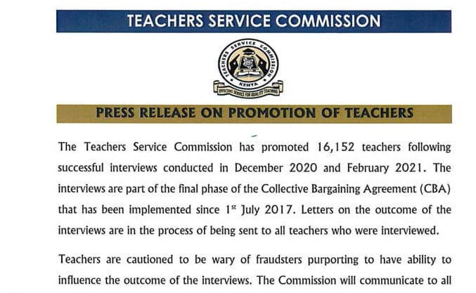 TSC Commences Sending Promotion Letters To Interviewed Teachers- All Interviewed Applicants Will Receive Letters