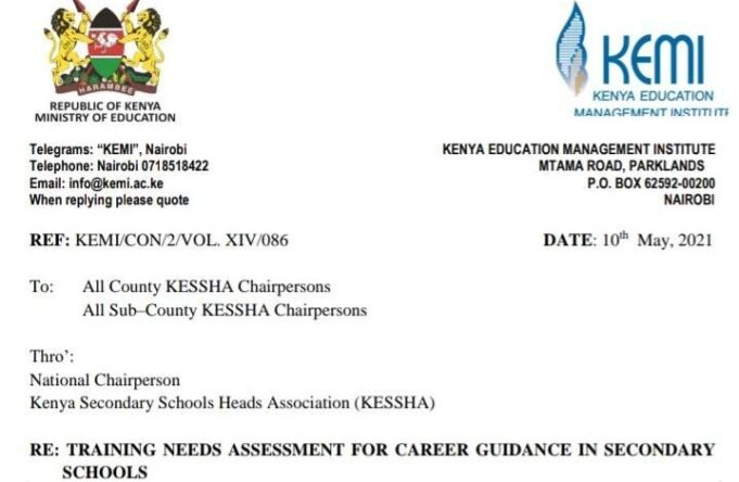 All Career guidance / Guidance and counselling teachers to undergo KEMI-KUCCPS Training