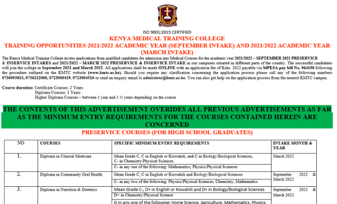 KENYA MEDICAL TRAINING COLLEGE TRAINING OPPORTUNITIES 2021/2022 ACADEMIC YEAR (SEPTEMBER INTAKE) AND 2021/2022 ACADEMIC YEAR (MARCH INTAKE)