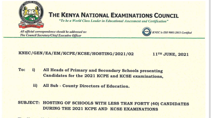 Blow To Sub County Schools: Schools With Less Than 40 Candidates To Take KCPE/KCSE In Other Centres
