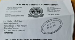 KUPPET's Letter To TSC Over Stalled 2021-2025 CBA Negotiations Receives a Less Binding Response