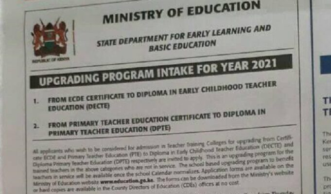 Education ministry invites applications for upgrading P1 and ECDE Certificates To Diploma