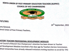 KUPPET Councils Of Chairpersons, Vice chairpersons Reject TPD Module